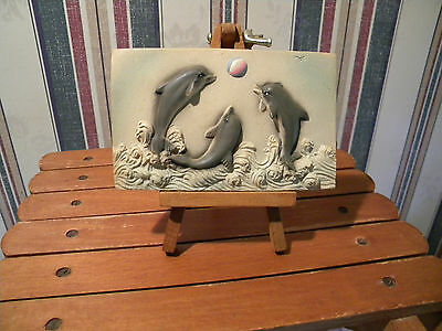 Resin Dolphins Figurine On Wood EASEL  PRISTINE