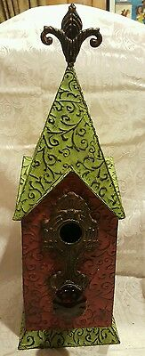 New Hand Crafted Rustic Metal Bird House with Antique Glass Doorknob 2