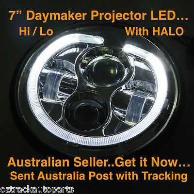 7''inch Hi/Lo LED Projector Daymaker Headlight with DRL For Harley (BLACK) H4