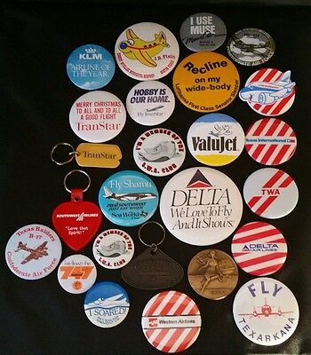 25 Vintage Delta Transtar SWA KLM  + Airlines Coin Medallion Buttons & Pins Lot
