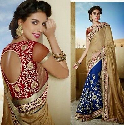 Indian Ladies Suit Red Blue Gold Floral Embroidered Party Saree Sari