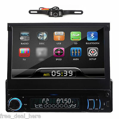 "CAMERA+7"" Single 1 Din Car DVD Player Navigation GPS Car Radio Stereo BT In-Dash"