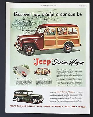 1948 Jeep Station Wagon Original Advertisement Willys Overland Car AD Wood Panel