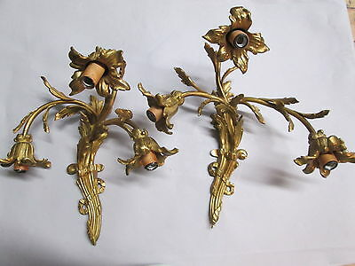 "Vintage Antique French Wall Sconces Bronze Floral 3 Lights 12"" by 12"" Stunning"