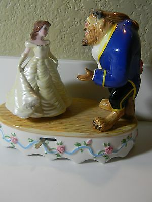 Vintage Schmid Disney Beauty And The Beast Porcelain Hand Painted Music Box