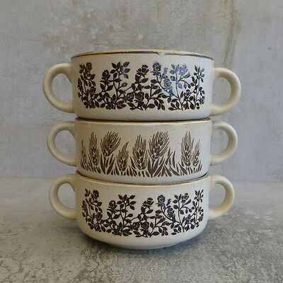 3 x Retro Pottery Bowls with two handles Made in Korea Ramekins Soup Coupes