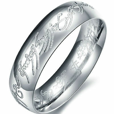 6mm Size 7-15 Stainless Steel LOTR Lord of Ring Black Silver Cocktail Party Band
