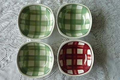 T G Green & Co England 4 X Cereal Bowls 'patio' Gingham 3 Green 1 Red