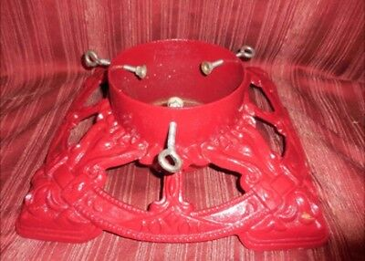 VTG Red Cast Iron Metal German Christmas tree stand Antique Holiday Old