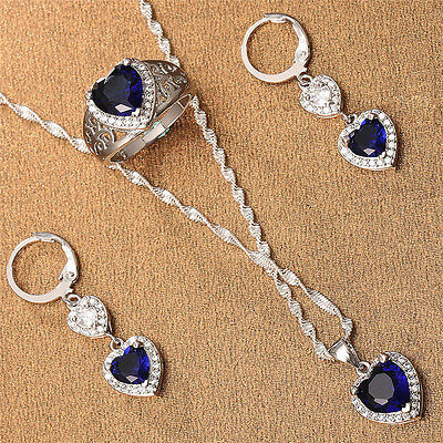 925 Silver Blue Sapphire Heart Pendant Jewelry Women Necklace Earrings Ring Set