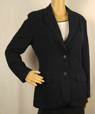 Vtg Womens Blazer Jacket Sz 10 Navy Wool Blend Sweetbrier Lined Casual Business