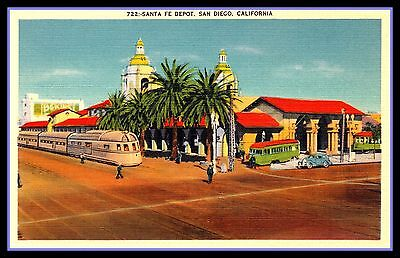Santa Fe Railroad FRIDGE MAGNET 6x8 Vintage San Diego Train Depot Travel Poster