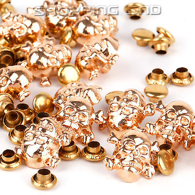 80Pcs 10mm Gold Skull Bone Metal Studs Spots Spike Rivets Nailhead Punk Leather