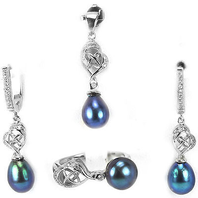 Genuine Tahitian Color  Black (Japan)  Pearl Jewelry Set White Gold Over 925 Ss