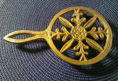 Antique AR Ornate Early Cast Bronze Brass  Footed Trivet