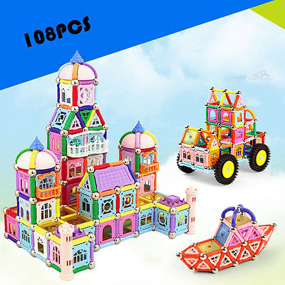 108pcs Matched Magnetic Construction Building Block Enlighten Puzzles Toy Gift