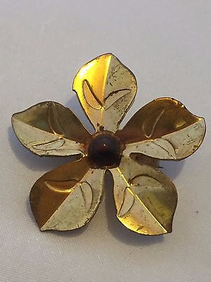 Vintage Gold Plated Blossoming Daisy/wild Flower Brooch~