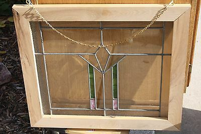 Framed Window Stained Leaded Beveled Pebbled Glass 24 x 21
