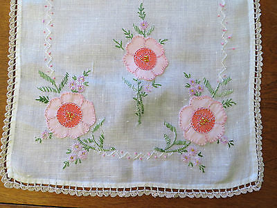 Antique Linen Table Runner Embroidered Appliqued Flowers-Lovely old cloth