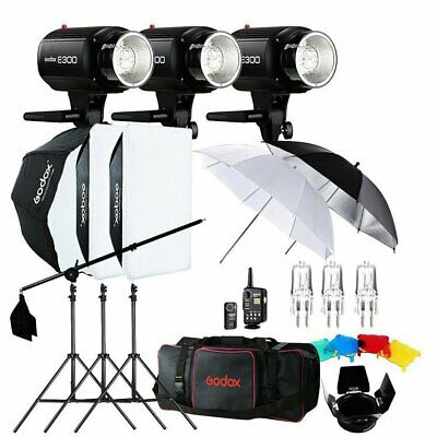 US 900W Godox 3x E300 300Ws Photo Studio Strobe Flash light +Softbox+Trigger Kit