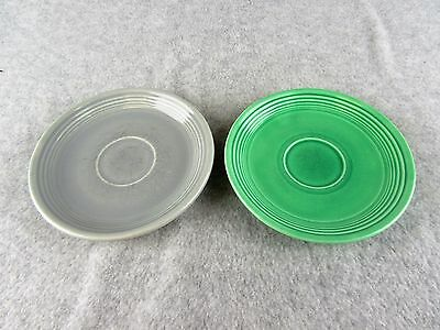 Fiestaware Lot Of 2 Vintage Medium Green and Grey Saucers