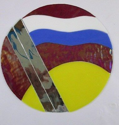 Round Pre - Cut Stained Glass Flag Time, Mosaics, Stepping Stone, Panel