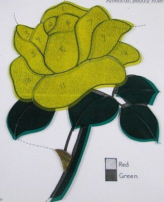 Pre-Cut Stained Glass / Mosaic American Beauty Yellow Rose Kit