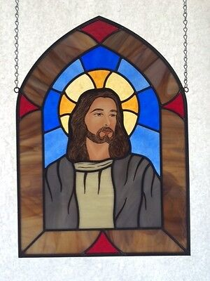 Religious Hand Painted  Jesus Stained Glass Panel