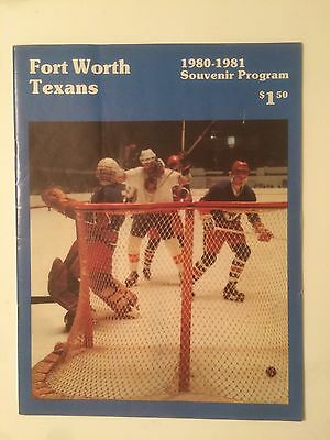 1980-81 Fort Worth Texans Vs Dallas Blackhawks CHL Hockey Program