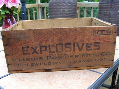Vintage Gold Medal Explosives Illinois Powder Co Dynamite Wooden Crate Wood Box