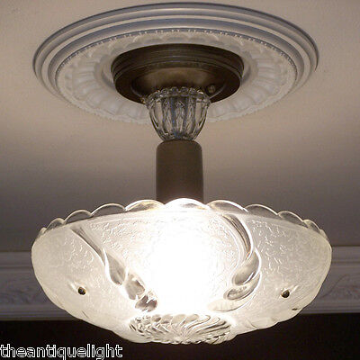 700 Vintage 40s CEILING LIGHT lamp chandelier fixture glass shade white