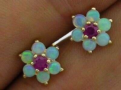 E058 Genuine 9ct Yellow Gold Natural Opal & Ruby Blossom Stud Earrings Cluster