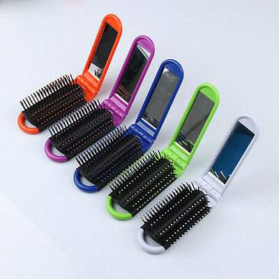 Fashion Girls Portable Travel Folding Hair Brush With Mirror Pocket Size Comb