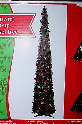 5Ft 5 Ft Red Green Tinsel Tree Collapsible Christmas Wedding Reception Party
