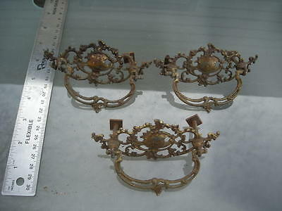 3-vintage-antique brass style drawer pull handles lot #-7