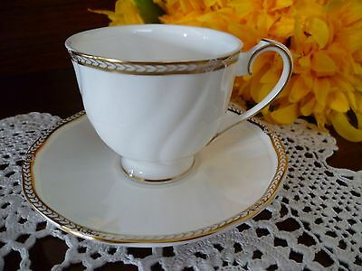 Wedgwood Crown Gold Pattern  Bone China Made In  England Coffee Cup & Saucer
