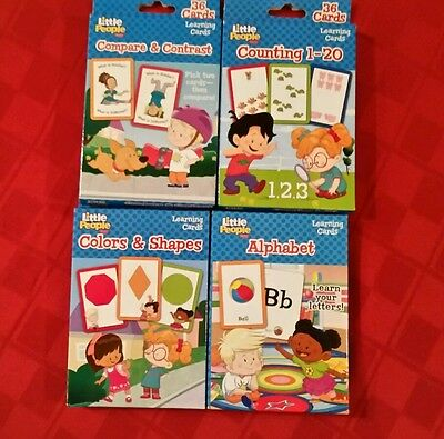 FISHER-PRICE LITTLE PEOPLE FLASH CARD (Set of 4) ABC,COMPARE,COUNTING 1-20,SHAPE