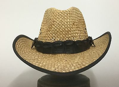 Western Straw  hat  with genuine Crocodile hat band   large  with clips on