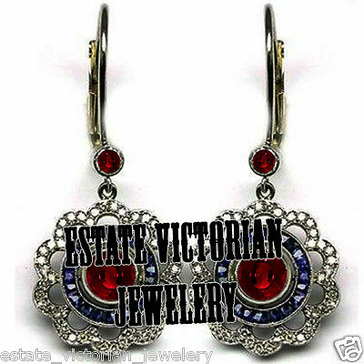 Vintage 2.02Cts Rose Cut Diamond Sterling Silver Sapphire Ruby Earring Jewelry