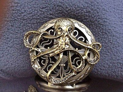 Octopus Pirate Steampunk Bronze Pocket Watch Necklace Chain Gothic + Extras Gift