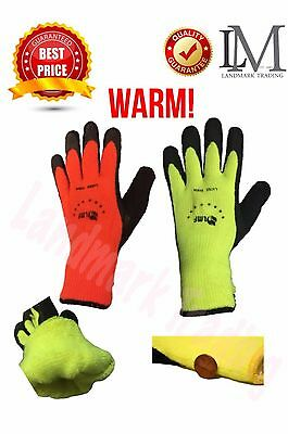 Warm Safety Snow Winter lnsulatated DoubIe Lining Rubber Coated Work GIoves