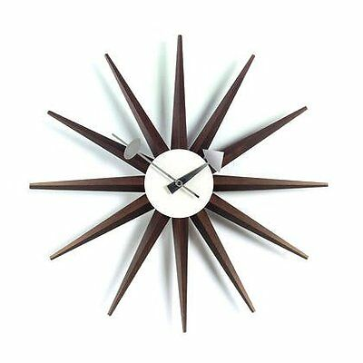 Vitra Sunburst Clock / 20125303 Horloge murale Noyer 470 mm