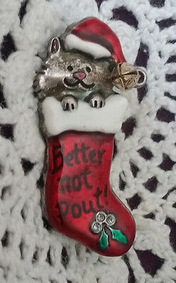 """""""Better Not Pout"""" AJMC Christmas Cat In A Stocking Pin"""