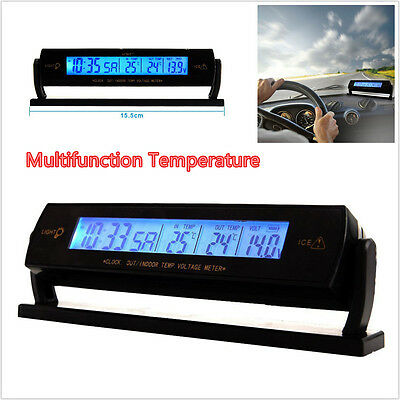 12V Car LCD Digital Clock Thermometer Voltage Meter Monitor Temperature Display