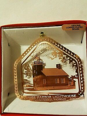 Copper Harbor Lighthouse Michigan Copper over Brass Christmas Ornament