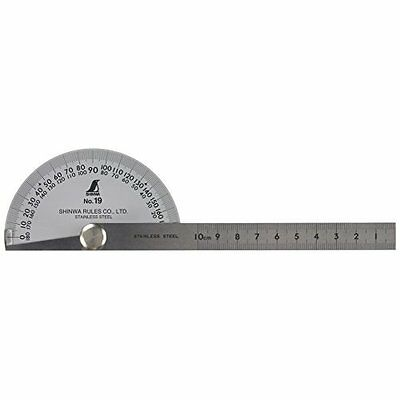 SHINWA Protractor Rapporteur Winkelmesser No.19 Stainless steel 62490 Japan.