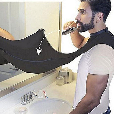 Beard Shave Apron Cape Gather Cloth Bib Facial Hair Whisker Trimming Catcher BS