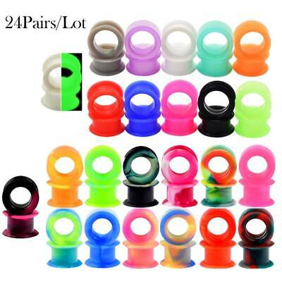22PCS Silicone Gauges Ear Plugs Flesh Tunnels Heart Hollow 11 Colors SETS