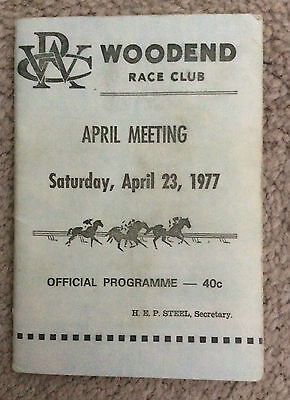 WOODEND RACE CLUB 23rd April 1977 Program Guide Rare Horse Racing Race Book
