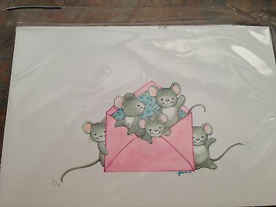 Mouse Mice Gray  Note Card Lot 8 Pink Env American Greetings Sealed Package NOS
